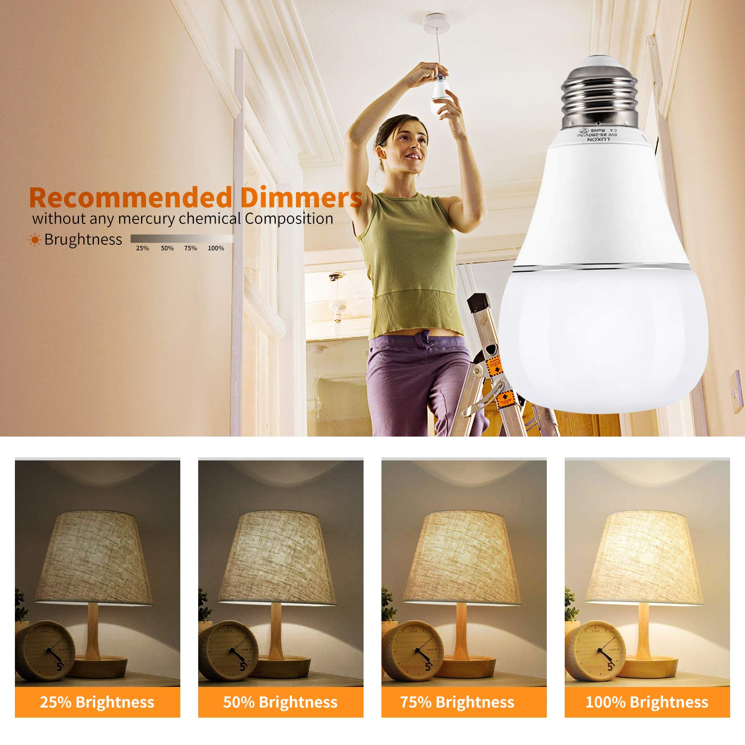 Smart WI-FI LED Light Bulb RGBW Color Changing E26 Base Smart Dimmable Light Bulb Smartphone Controlled Work with Amazon Alexa/ Google Home by LUXON by LUXON (Image #4)