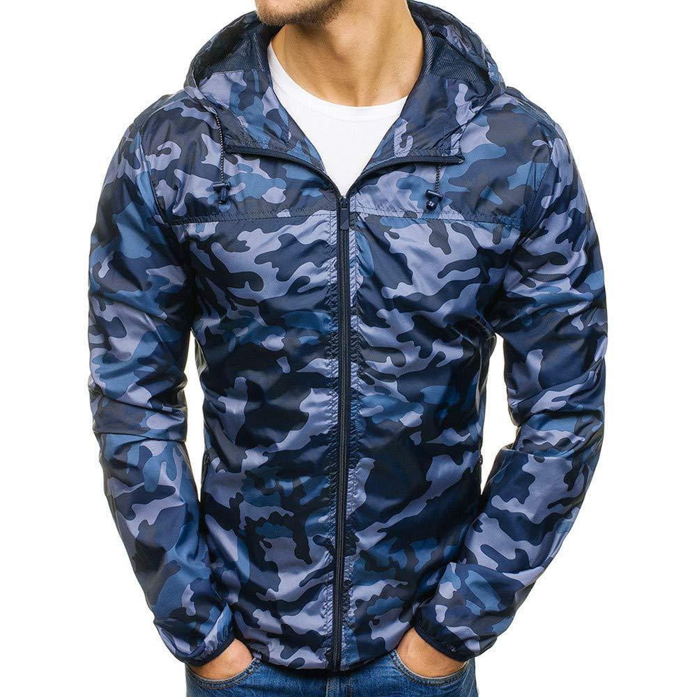 Men's Coats for Mens Autumn Winter Zip Camouflage Slim Pocket Fit Hoodies Coat,Suit Jacket (2XL,Blue)