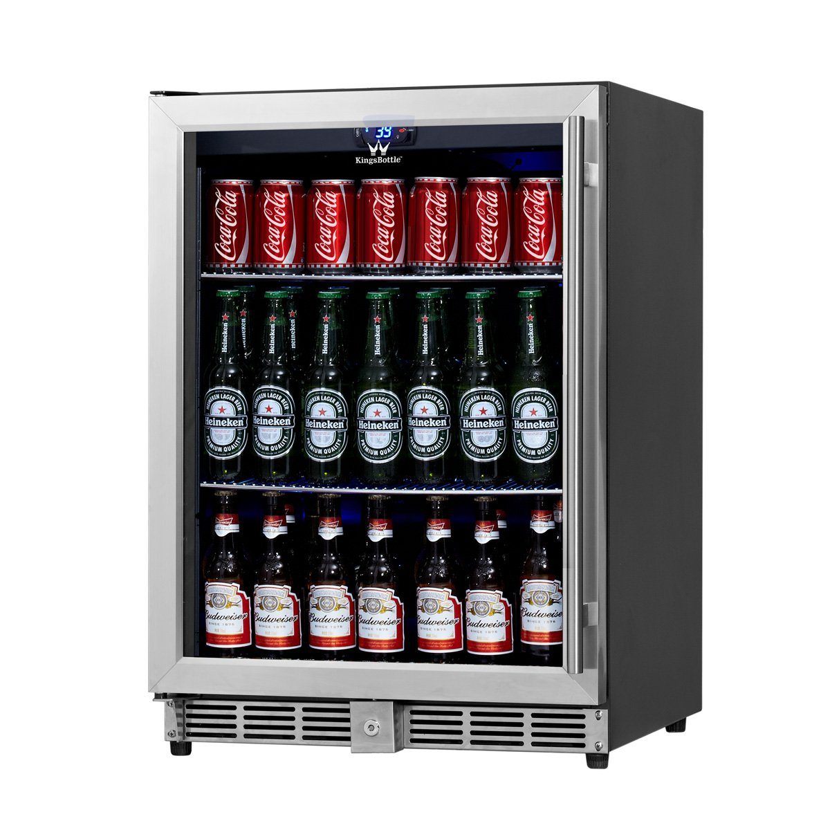 Amazon.com KingsBottle 160 Can Beverage Cooler Stainless Steel with Glass Door Appliances  sc 1 st  Amazon.com & Amazon.com: KingsBottle 160 Can Beverage Cooler Stainless Steel ... pezcame.com