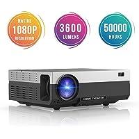 Vidéoprojecteur Full HD, BeamerKing Retroprojecteur 1080P Full HD Résolution Native 1920 X 1080P Projecteur LED 3600 Lumens HDMI/VGA/USB/AV, Projecteur de Cinéma Maison