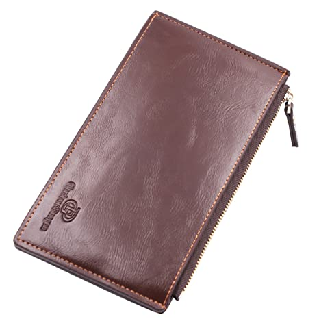 Lomory Multi Card Wallet with Zipper Pocket Oil Wax Leather Wallets For  Women (Brown)  Amazon.in  Beauty 243700421