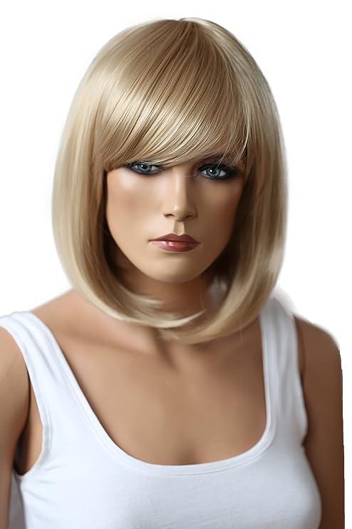 PRETTYSHOP Peluca de pelo corto peluca de Bob calor fibras sintéticas resistentes rubio # 15 SH032t