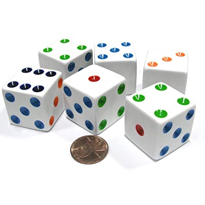 Set of 6 D6 25mm Large Opaque Jumbo Dice - White with Multicolor Pip by Koplow Games: Toys & Games