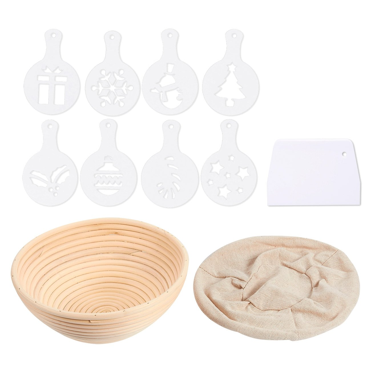 Juvale Banneton Proofing Basket Set - 11-Piece Brotform Bread Dough Rising Baking Kit, Includes Round Rattan Basket, Cotton Liner Cloth, Dough Scraper, and 8 Different Xmas Themed Stencils by Juvale (Image #1)