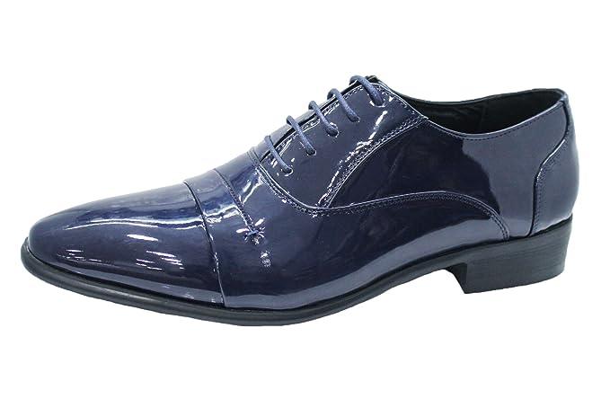 Scarpe uomo class blu vernice linea classica man s shoes eleganti cerimonia  ... b6d1679385d