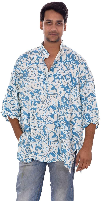 Lakkar Havali 100/% Cotton Indian Black /& Grey Color Mens Kurta Shirt Tunic Loose Fit Plus Size Floral Print