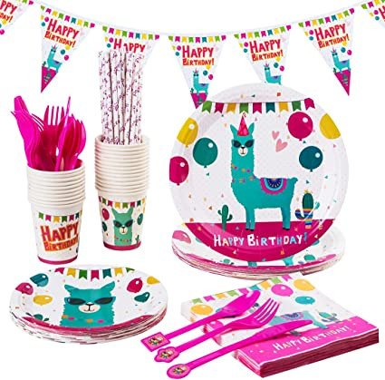 LLAMA Party Birthday Party Supply Set Pack Decoration Kit w// Loot Bags