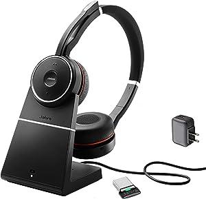 Jabra Evolve 75 Bluetooth Headset Bundle | Active Environmental Canceling | USB Dongle, Charging Stand, Bonus AC Adapter | MS-Skype/Lync Certified | Softphones, Smartphones, PC/MAC | 7599-832-199-B