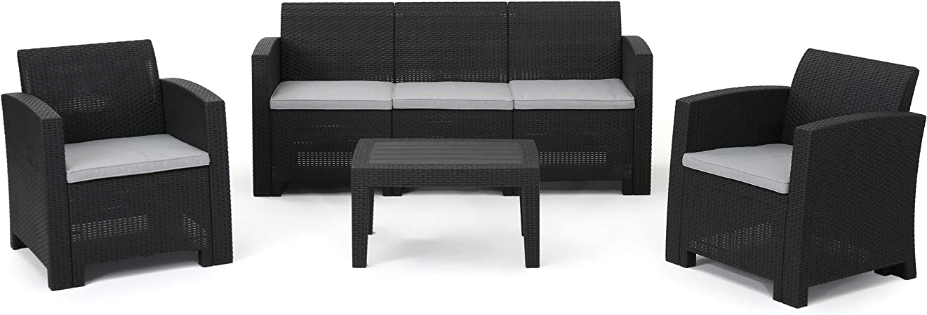Christopher Knight Home Jacksonville Outdoor Faux Wicker Rattan Style Chat Set with Water Resistant Cushions, 4-Pcs Set, Charcoal / Light Grey