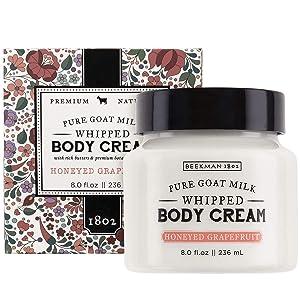 Beekman 1802 - Whipped Body Cream - Honeyed Grapefruit - Goat Milk Body Butter, Daily Hydration for Dry Skin - Naturally Exfoliating Body Cream - Good for Sensitive Skin - Goat Milk Bodycare - 8 oz