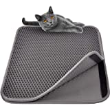 MyfatBOSS Large Cat Litter Trapper Mat, Double Waterproof Layer for Litter Box Mat, Larger Holes with Clean Cat Mat for Messy Cats (Grey)