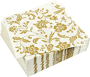 Gold Floral Paper Napkins for Anniversary Party (6.5 x 6.5 In, White, 100 Pack)