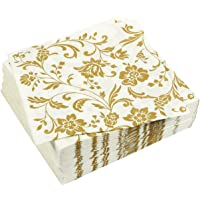 100 Pack Dinner Decorative Napkins - Gold Floral Print Disposable Paper Party Napkins, Perfect for Anniversary…