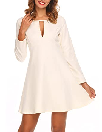 b1d5f55c0d Zeagoo Women Long Sleeve Fit and Flare Mini Skater Cocktail Party Dress,  Off White,