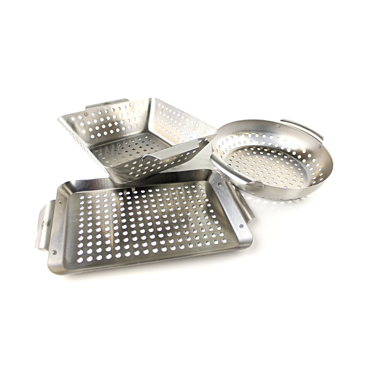 Yukon Glory Set of 3 Professional Barbecue Mini Grilling Basket Set, Heavy Duty Stainless Steel Perforated Grill Baskets for Grilling Veggies, Seafood, and More by Yukon Glory