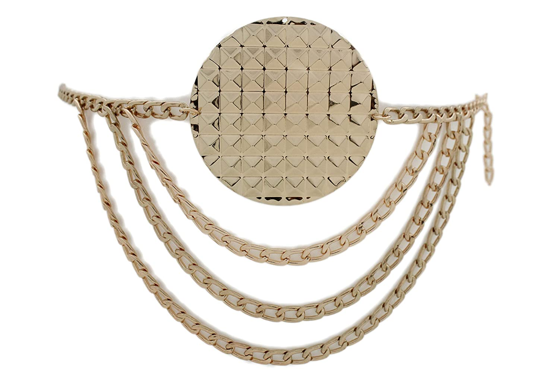 TFJ Women Fashion Metal Concho Charms Belt Hip Waist Ethnic Boho XS S M