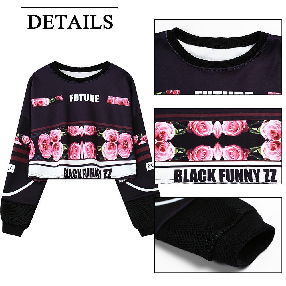 My Sky Women Teen Girls Digital Print Long Sleeve Crop Top Sweatshirt Black(Rose) by My Sky (Image #3)