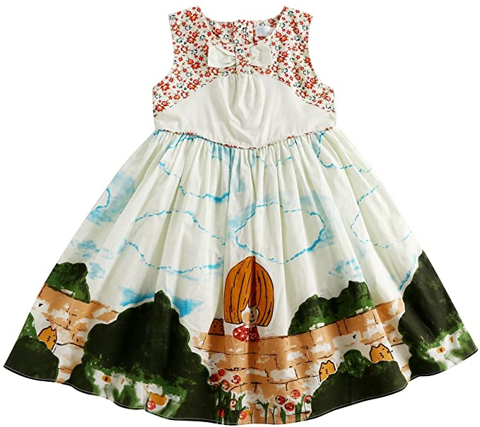 9b2029444 Amazon.com  Sharequeen Flower Print Sleeveless Cotton Girls Dress ...