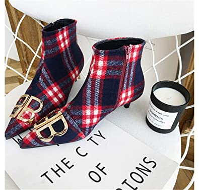 1f5c0cf6ba47 Mon Moira Pointed Toe Plaid Kitten Heel Women Boots Metal Decoration Sexy Ankle  Boots Brand Design