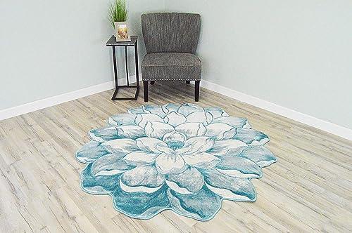 Flowers 3D Effect Hand Carved Thick Artistic Floral Flower Rose Botanical Shape Area Rug Design 301 Blue 6 6 x6 6 Round