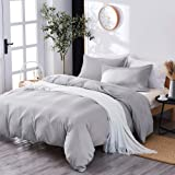 Marriarics 3 Piece Lightweight Duvet Cover Queen - Ultra Soft Washed Process Microfiber Gray Duvet Cover Set - Comforter Cove