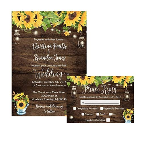 Amazon.com: Rustic Sunflower Wedding Invitations and Self Mailing ...