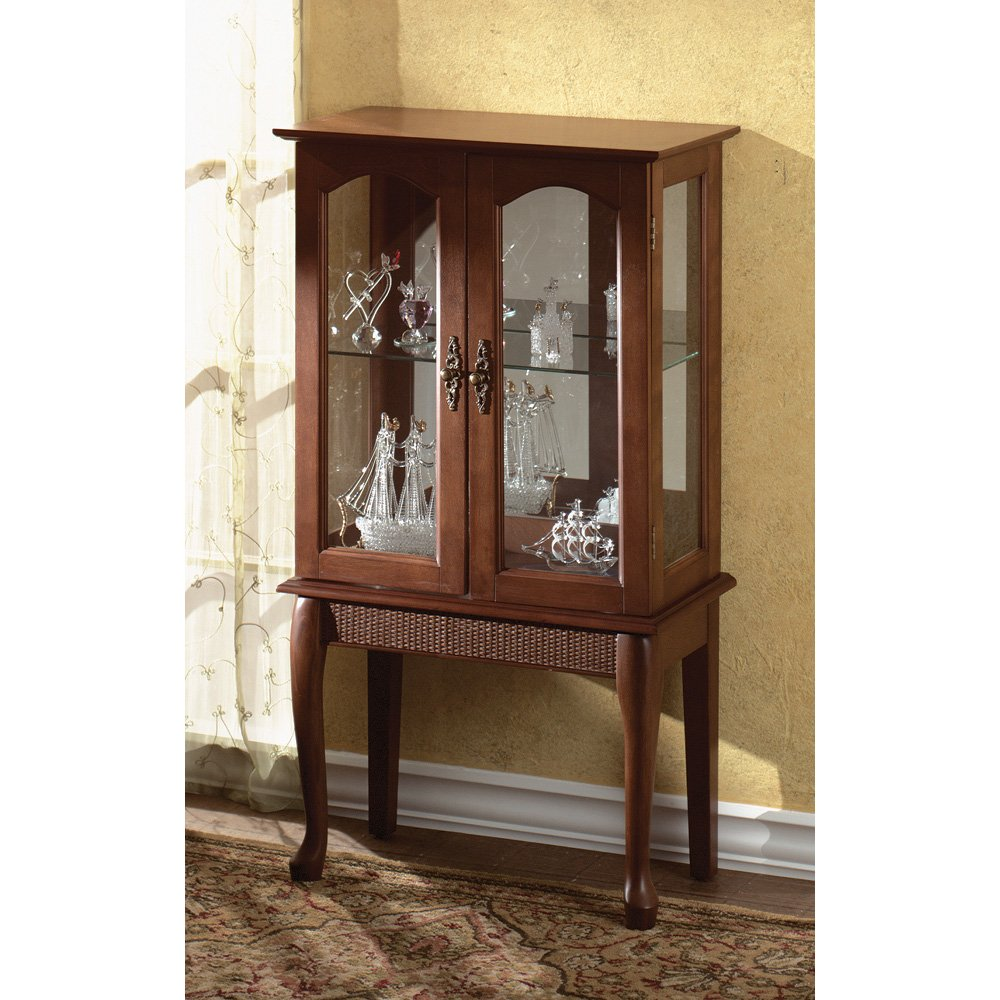 amazoncom birch veneer simply elegant wood glass curio cabinet kitchen u0026 dining