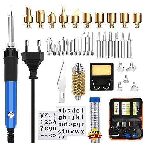 Kit para quemar madera, Doris Direct 37Pcs Pirograbado para quemar madera Kit-60W Temperatura