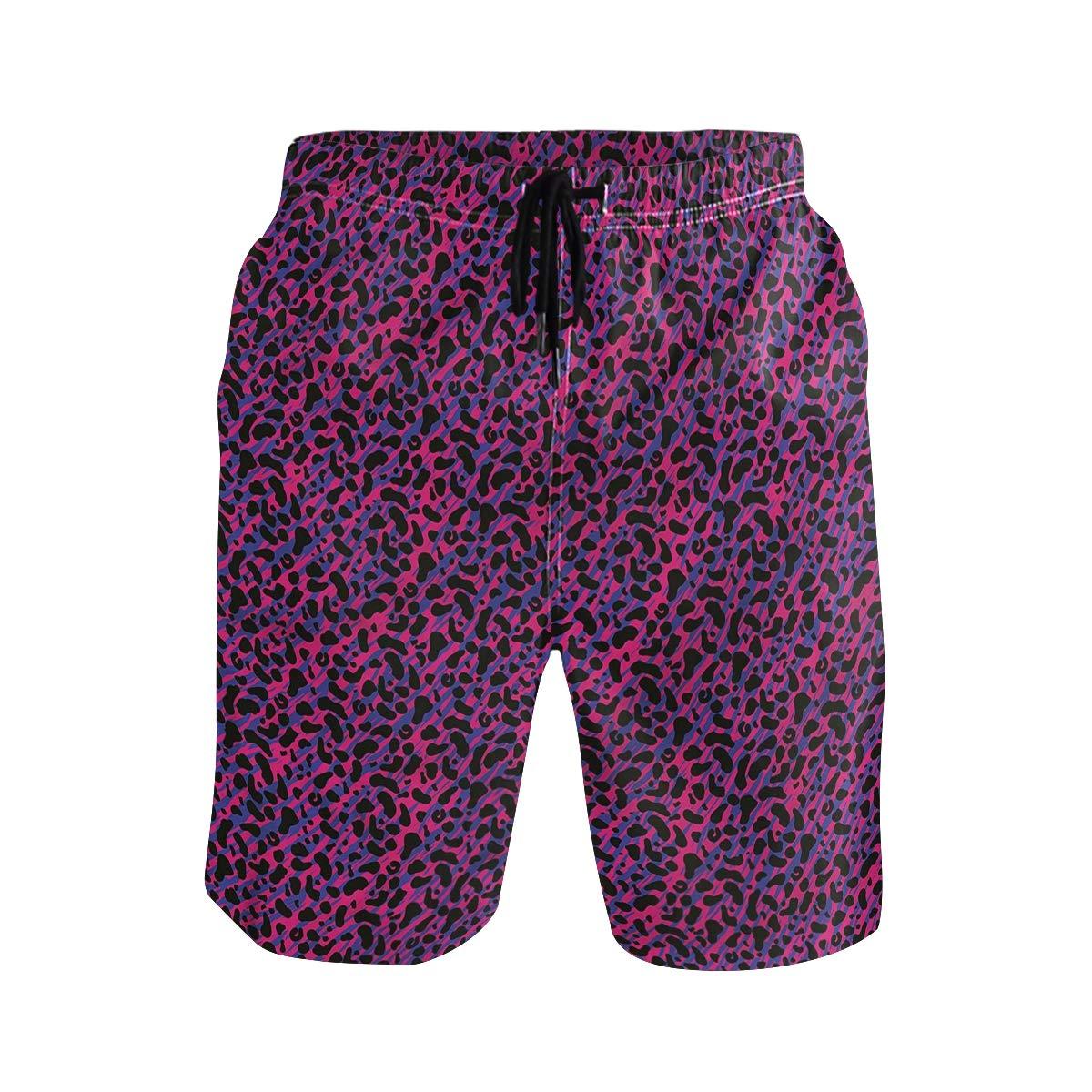 COVASA Mens Summer ShortsLeopard Skin Safari 80S