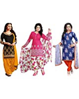 Low Price Faux Cotton Printed Combo Dresses Regular & Party Wear Patiyala Salwar Suit For Women Unstiched Combo Dress (Pack Of 3)