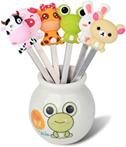 Zeltauto 6 Pcs Stainless Steel Fruit Forks Cute Cartoon Animal Food Picks Salad Cake Dessert Forks, Comes with a Ceramic Holder (Mixed Animal)