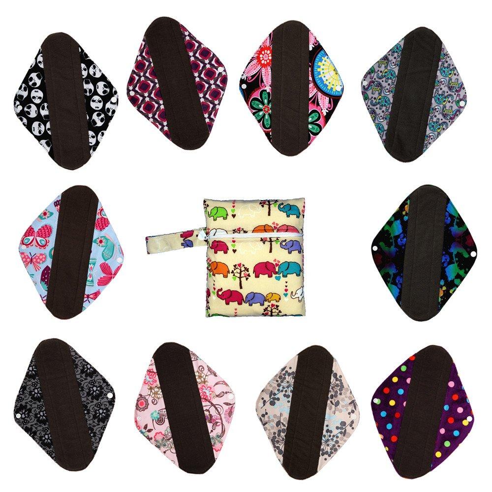 S M L XL Charcoal Bamboo Mama Cloth/ Menstrual Pads/ Reusable Sanitary Pads Panty liner (L: 10 pads +1 bag)