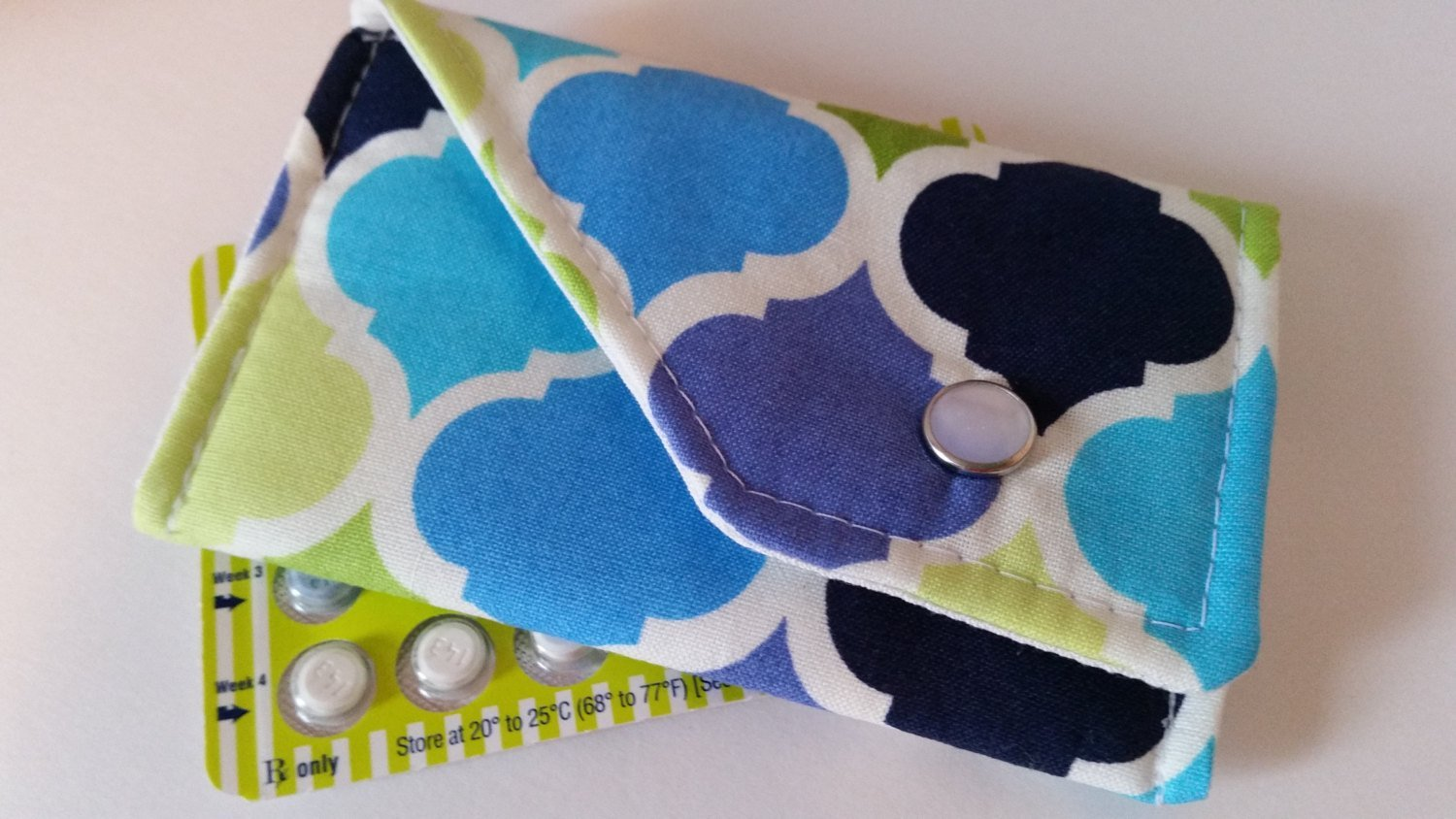 Birth Control Case Sleeve with Snap Closure - Cool tones
