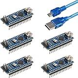 for Arduino Nano V3.0, Emakefun Nano Board ATmega328P 5V 16M Micro-Controller Board with USB Cable (Nano x 5 + Cable)