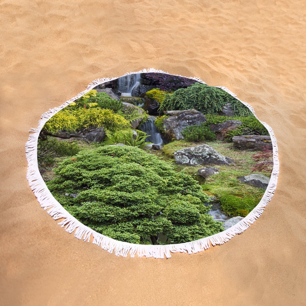 Pixels Round Beach Towel With Tassels featuring ''Cascade Waterfall - Japanese Tea Garden'' by Adam Romanowicz by Pixels