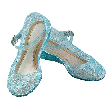 URAQT Zapatos de la Princesa , Zapatos de Disfraz Niñas Sandalias de Vestido con Tacón Plástico