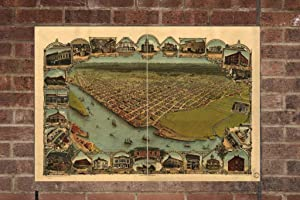 Retro Printing Company Vintage Eureka Map, Aerial Eureka Photo, Historical Vintage Eureka CA, Old Eureka Photo, 1902, Home Decor, Wall Art
