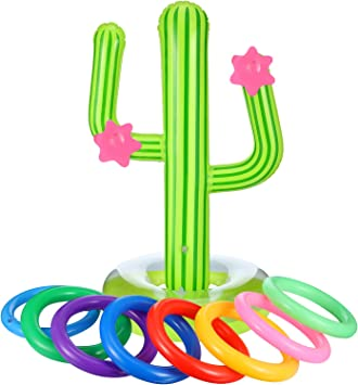 Amazon.com: Blulu 9 piezas inflable Cactus Ring Toss Juego ...
