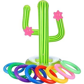 Blulu Conjunto de Juego de Lanzamiento de Anillos Incluye 1 Cactus Inflable, 8 Anillas Inflables de Color para Juegos de Fiesta de Piscina (9 Piezas, ...