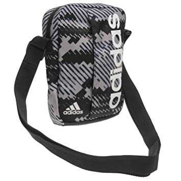 90c898dadee1 Adidas Linear Graphic Organiser Small Items Bag Grey White Black Shoulder  Bag