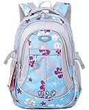 SellerFun Girl Women Flower Printed Waterproof Rucksack Backpack School Bag Bookbag (24L, Blue)