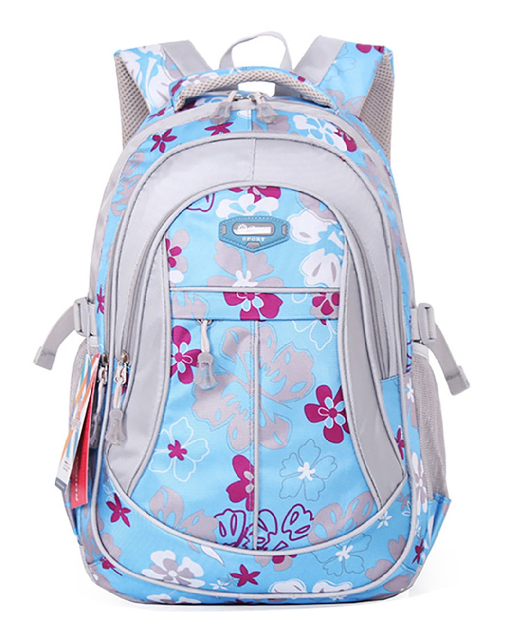 JiaYou Girl Flower Printed Primary Junior High University School Bag Bookbag Backpack(Style A Blue,24 Liters) by JiaYou