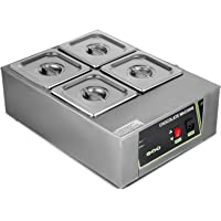 Happybuy Electric Chocolate Melting Pot Machine 4Tanks Capacity Commercial Electric Chocolate Heater 1500W Digital Control Two Pan Electric Chocolate Melter
