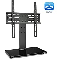 FITUEYES Swivel Tabletop TV Pedestal Stand for 27''-55 inch Rotate 60° & 6 Adjustable Heights, with Security Wire Tempered Glass Base Black TT103702GB