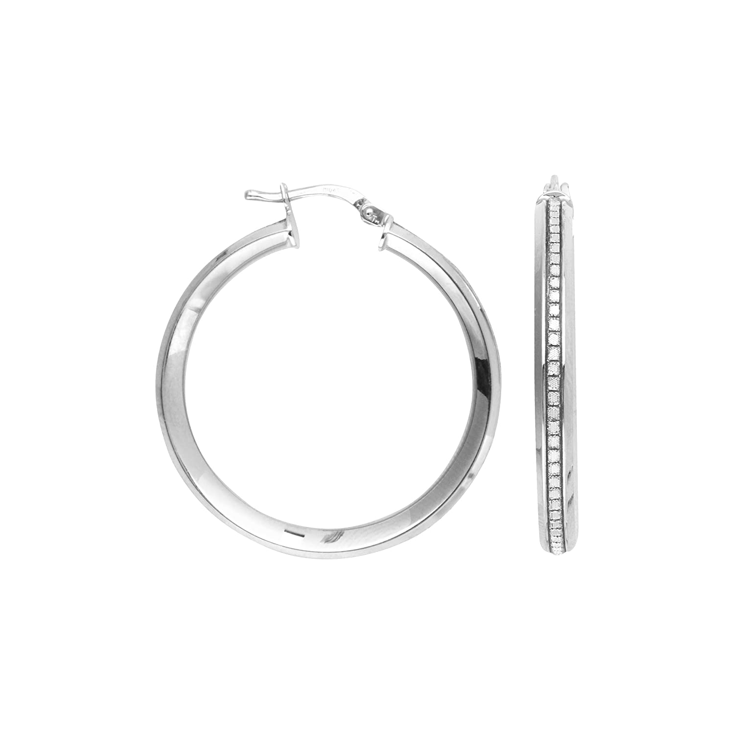 Lightz Coll 25Mm Rnd 1Row Glitter Hoop Hoop Earrings