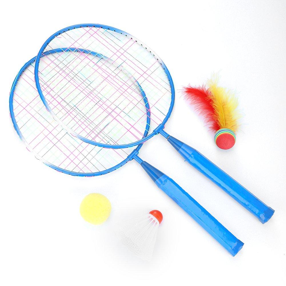 子供用バドミントンラケット バドミントンボール付き フェザーボール ナイロン合金 丈夫 プロ仕様 ラケットセット 子供用 アウトドアおもちゃ 2色 B07GPDM5DH ブルー