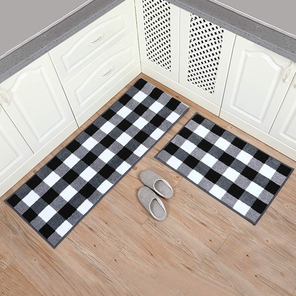 "Carvapet 2 Pieces Buffalo Plaid Check Rug Set Water Absorb Microfiber Non-Slip Kitchen Rug Bathroom Mat Checkered Doormat Carpet for Laundry,20""x63""+20""x31"" Black and White"