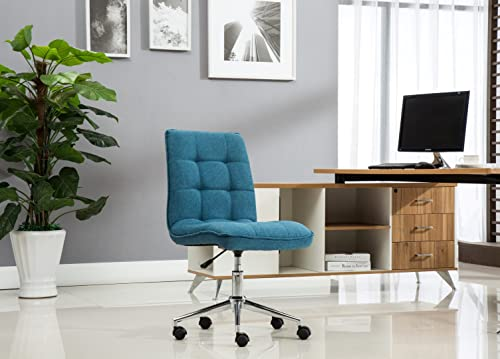 Porthos Home Leanne Task Chair with Height Adjustment, 360 Swivel, Steel Base and Tufted Polyester Upholstery Armless Design for Small Homes and Offices , One Size, Blue