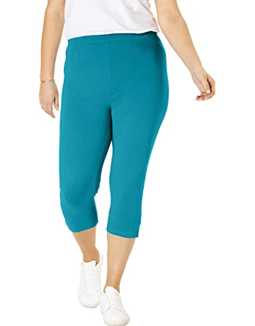 8ba446c4a0b62 Woman Within Women's Plus Size Stretch Cotton Capri Legging