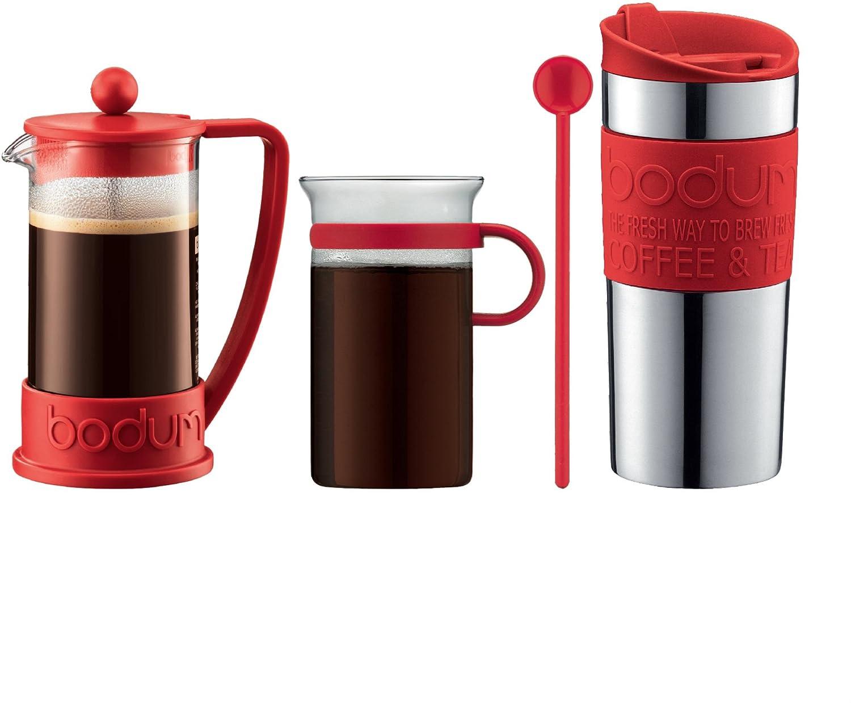 Bodum - Coffee Set - Coffee Press, Travel Mug, Glass Mug, Spoon - Black K10948-01